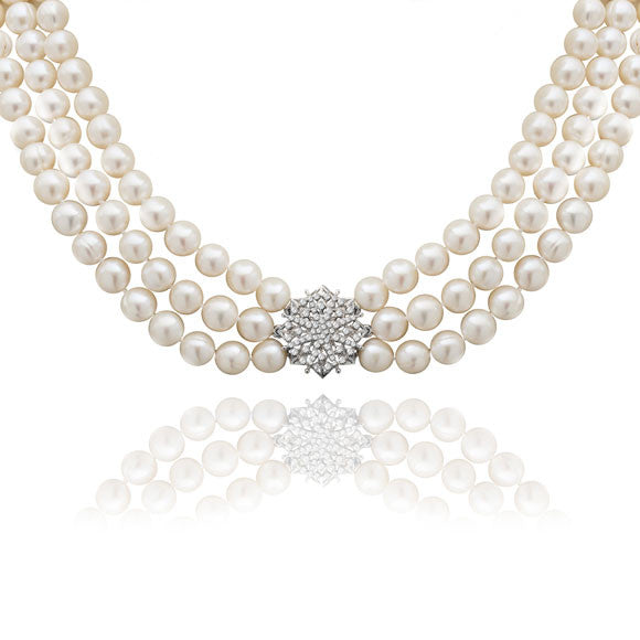 Stella triple strand cultured freshwater pearl necklace with a sparkle star clasp