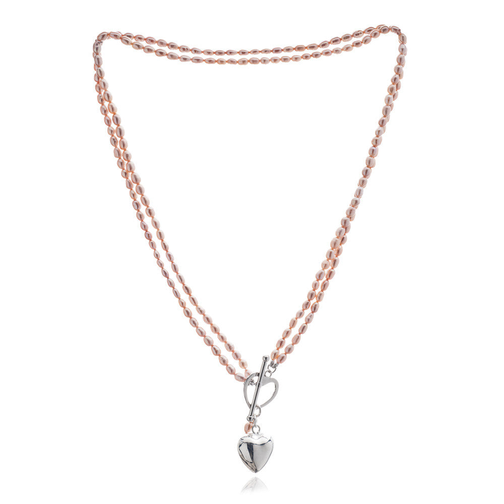 Double strand pink cultured oval freshwater pearl necklace with silver heart charm