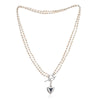 Double strand white cultured oval freshwater pearl necklace with silver heart charm
