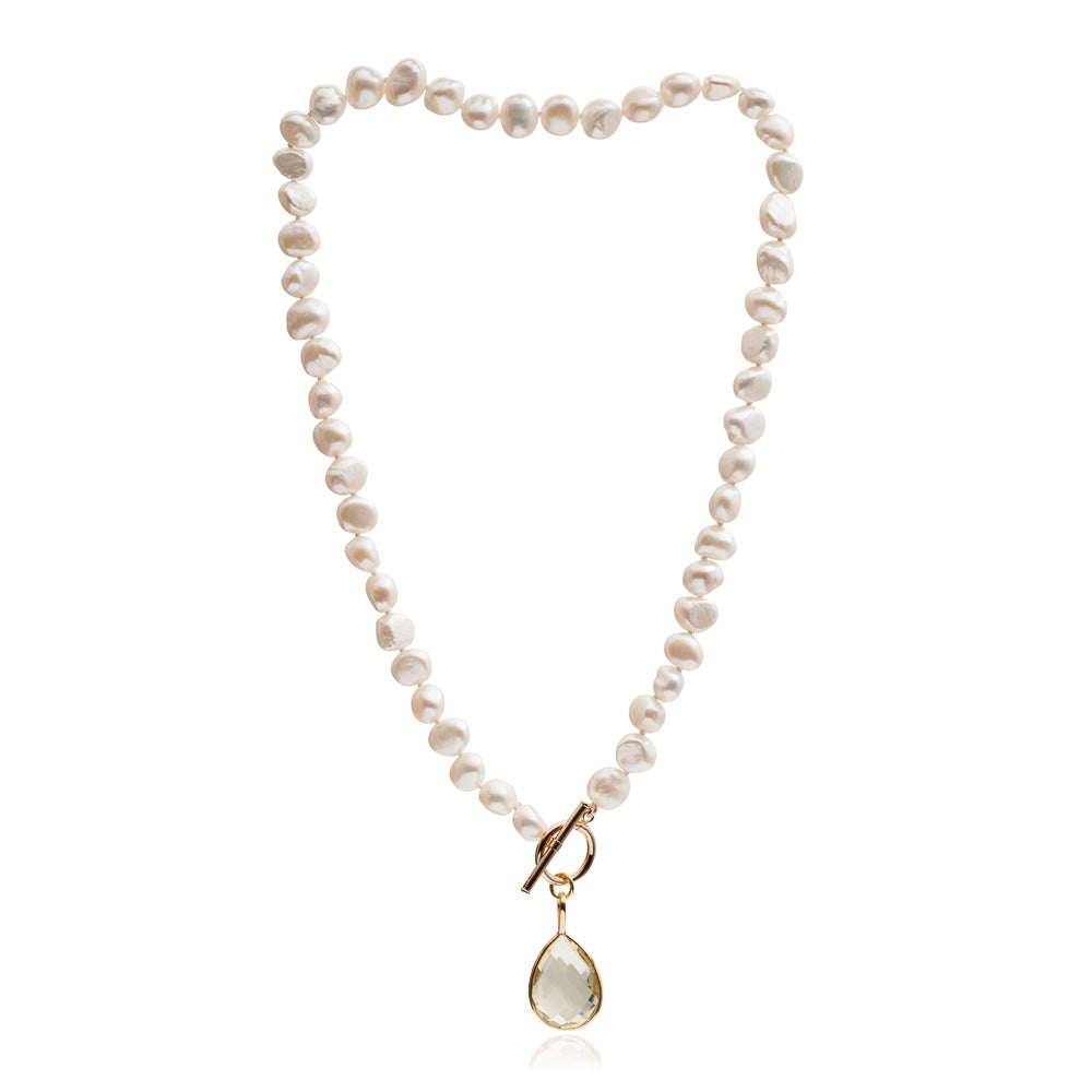 Single strand cultured irregular freshwater pearl necklace with lemon topaz gold vermeil drop