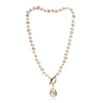 Clara cultured irregular freshwater pearl necklace with lemon topaz gold vermeil drop