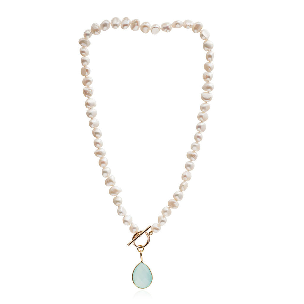 Single strand cultured irregular freshwater pearl necklace with aqua chalcedony gold vermeil drop