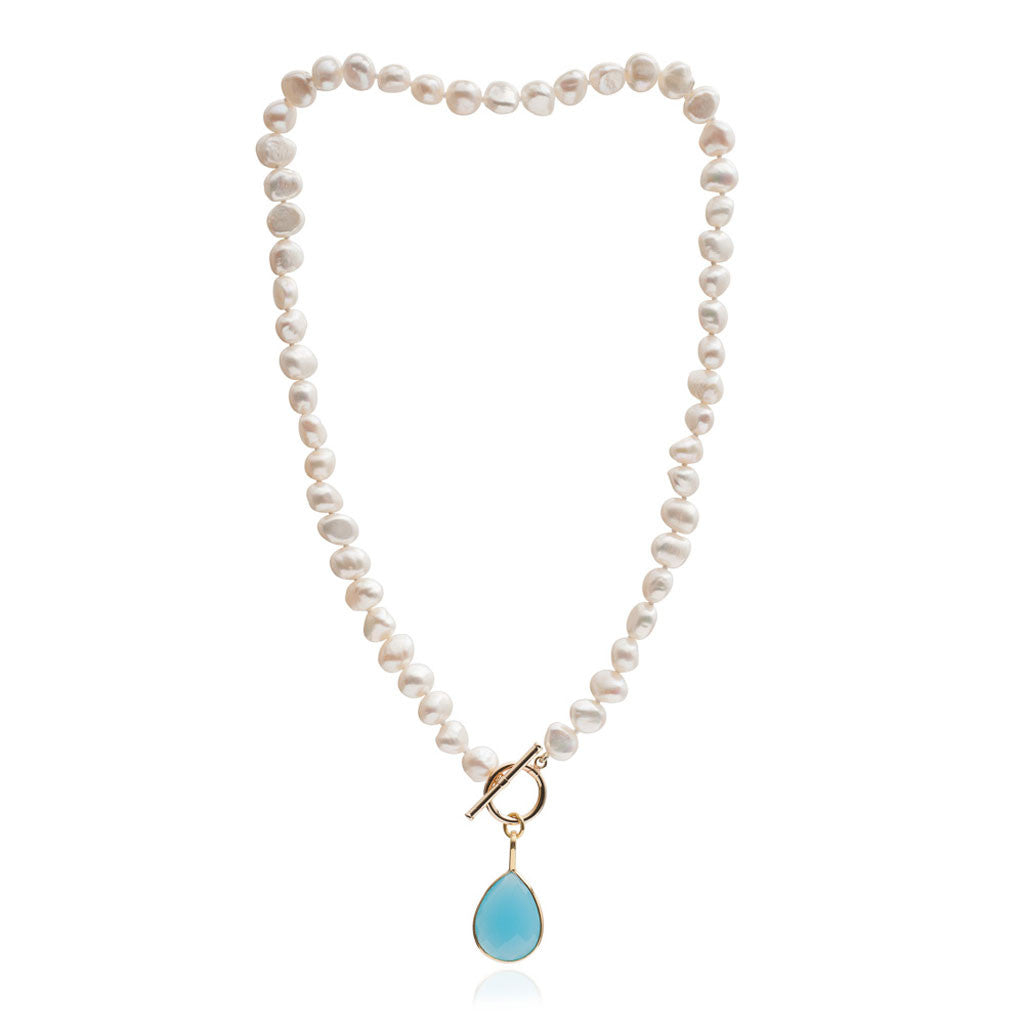Single strand cultured irregular freshwater pearl necklace with cerulean chalcedony drop