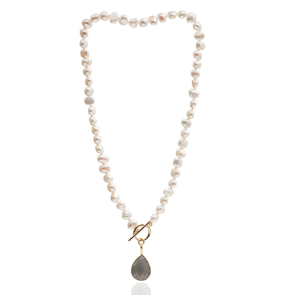 Clara cultured irregular freshwater pearl necklace with labradorite gold vermeil drop