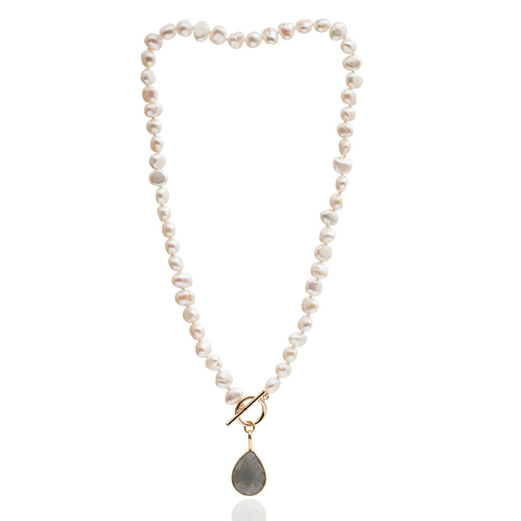 Single strand cultured irregular freshwater pearl necklace with labradorite gold vermeil drop