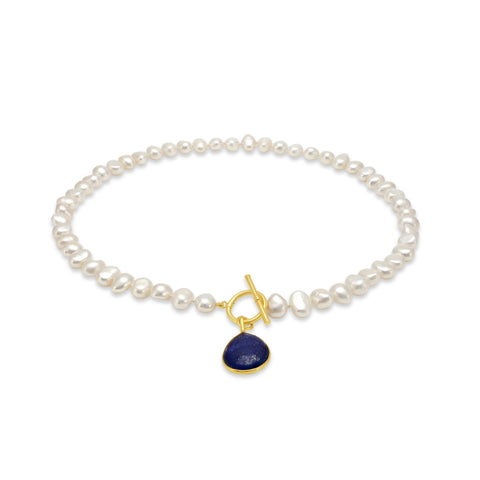Single strand cultured freshwater pearl necklace with lapis lazuli gold vermeil drop
