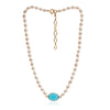 Single strand cultured oval freshwater pearl necklace with cerulean chalcedony gold vermeil pendant