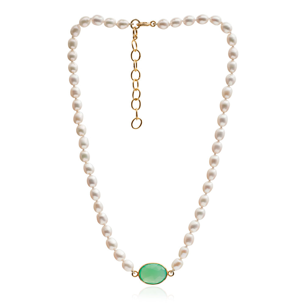 Single strand cultured oval freshwater pearl necklace with chrysophase onyx gold vermeil pendant