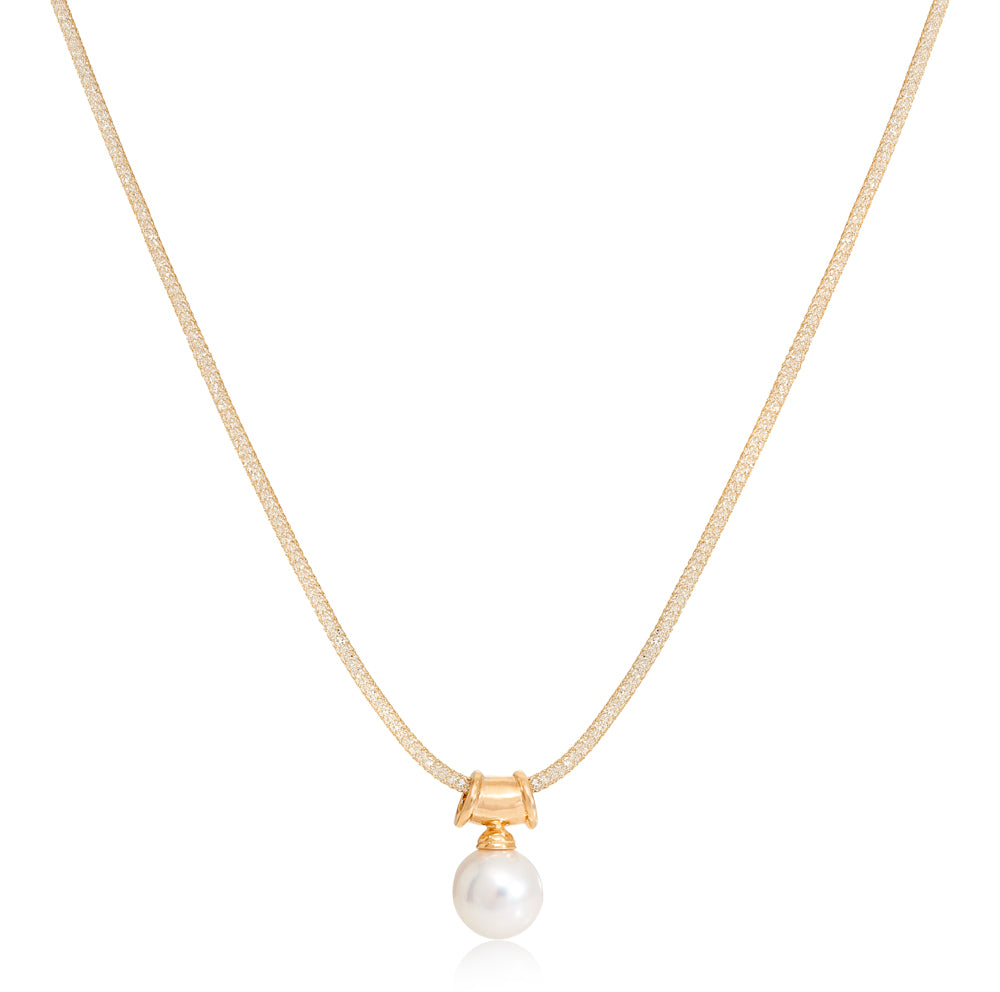 Credo large cultured freshwater pearl pendant on gold plated silver bale