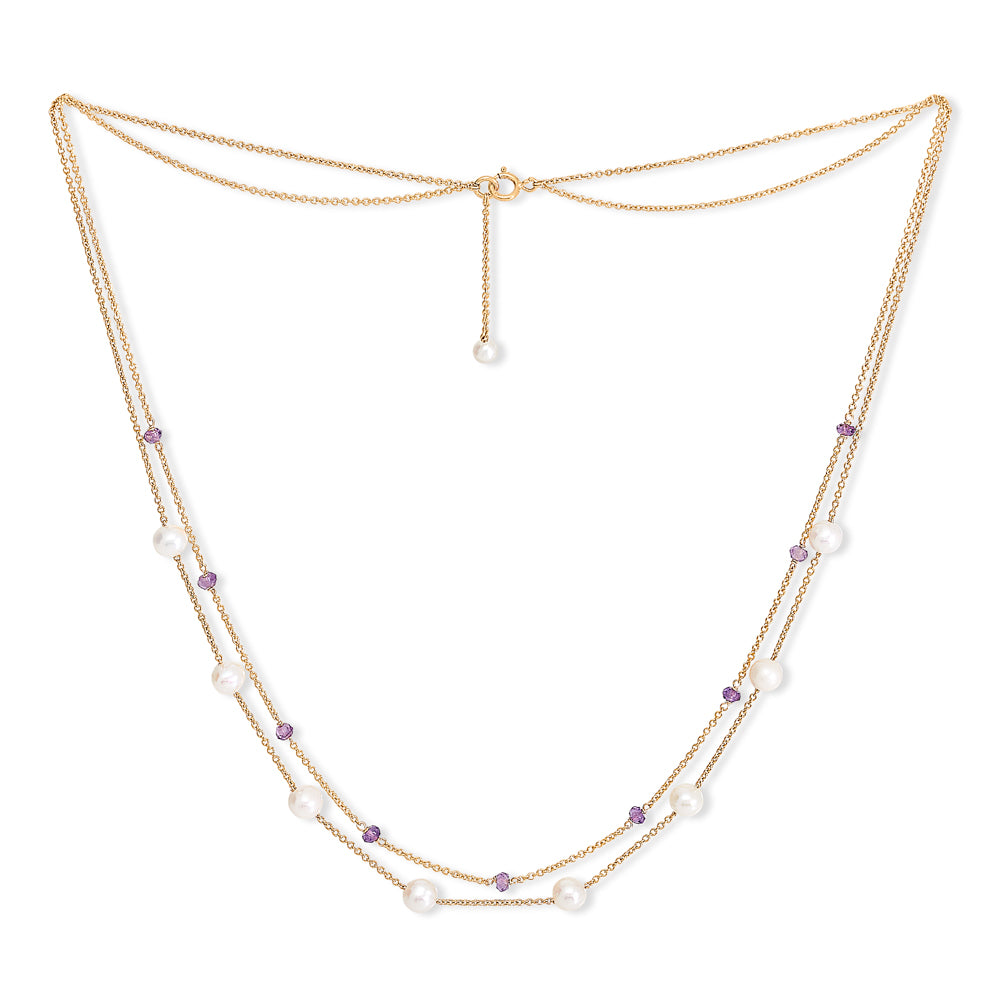Fine double chain necklace with cultured freshwater pearls & amethyst