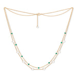Credo fine double chain necklace with cultured freshwater pearls & emerald