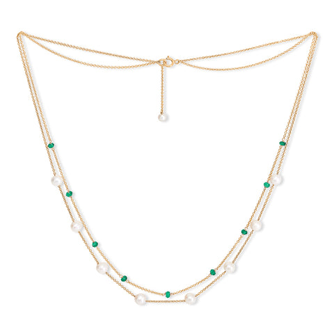 Fine double chain necklace with cultured freshwater pearls & emerald