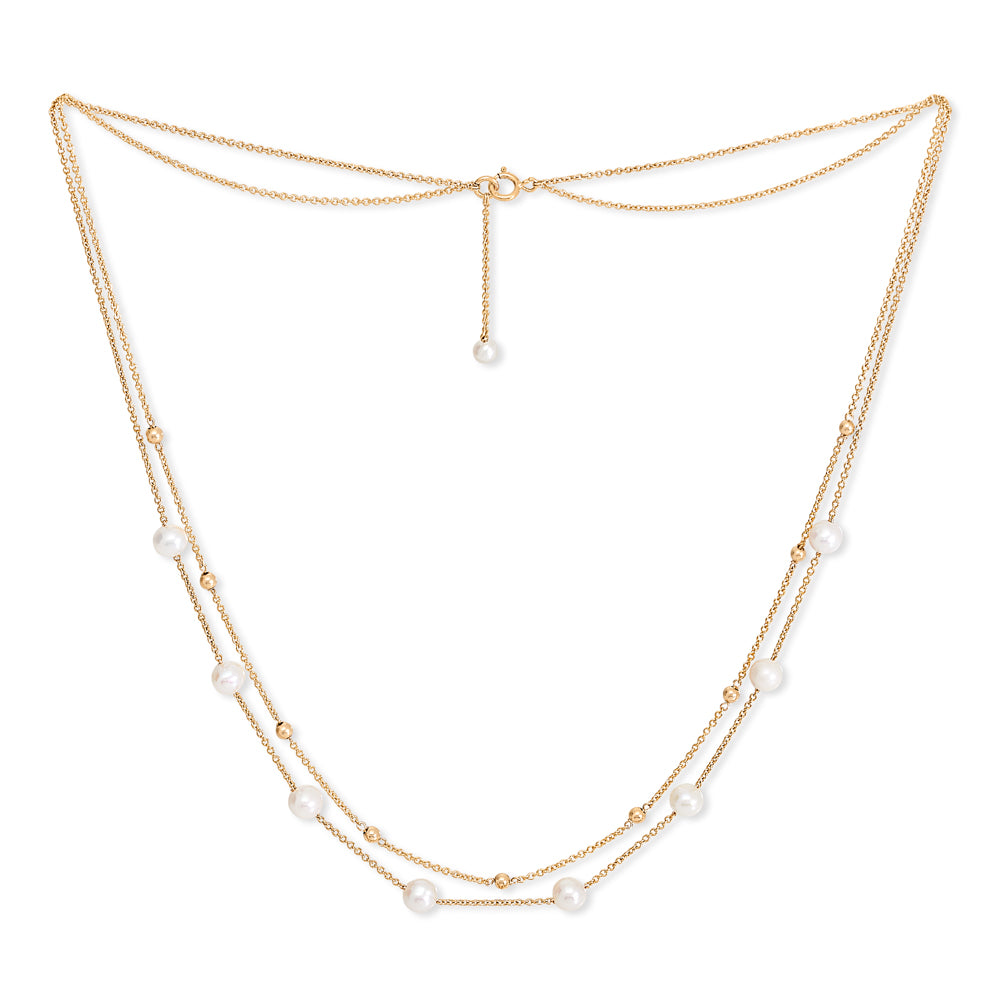 Credo fine double chain necklace with cultured freshwater pearls