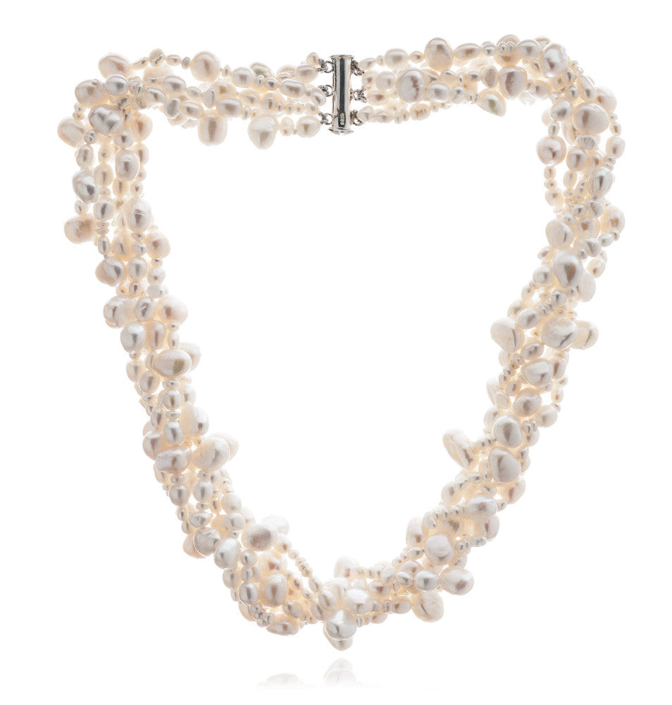 Margarita 6 strand white cultured freshwater pearl necklace