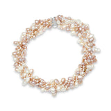 Margarita 6 strand pink & white cultured freshwater pearl necklace