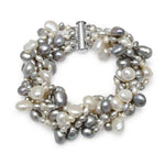 Margarita multi-strand grey & white cultured freshwater pearl bracelet