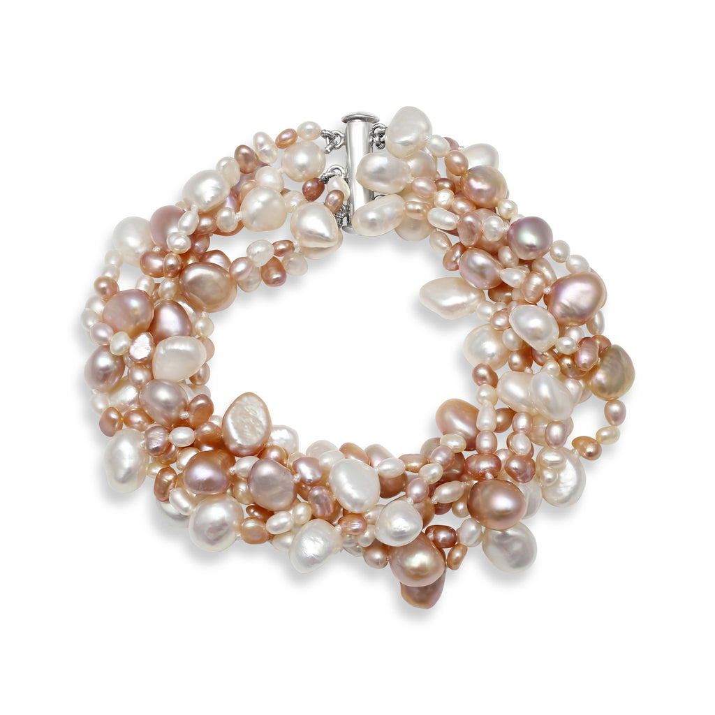 Multi-strand pink & white cultured freshwater pearl bracelet