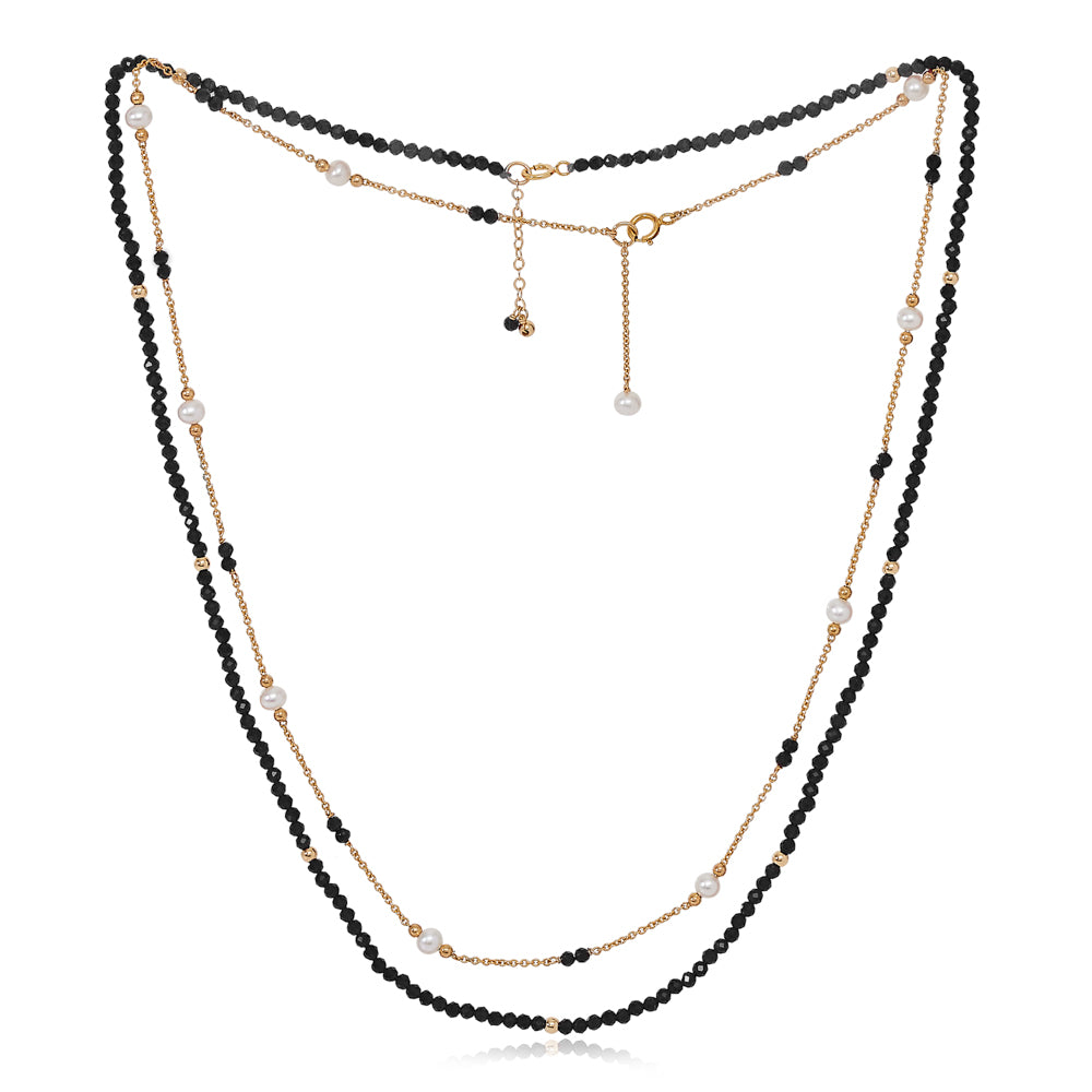 Clara fine double chain set with faceted black spinel & cultured freshwater pearls