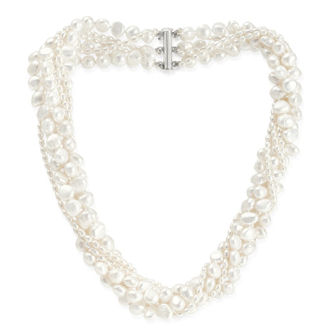 6 strand white mixed freshwater pearl necklace