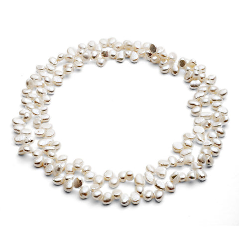 Single strand white irregular freshwater pearl loop necklace