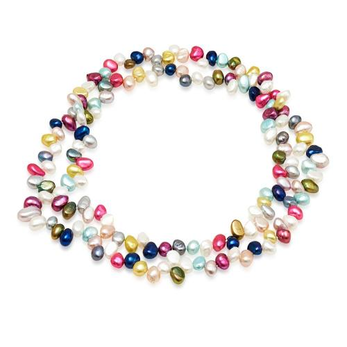 Single strand mixed colour irregular freshwater pearl loop necklace