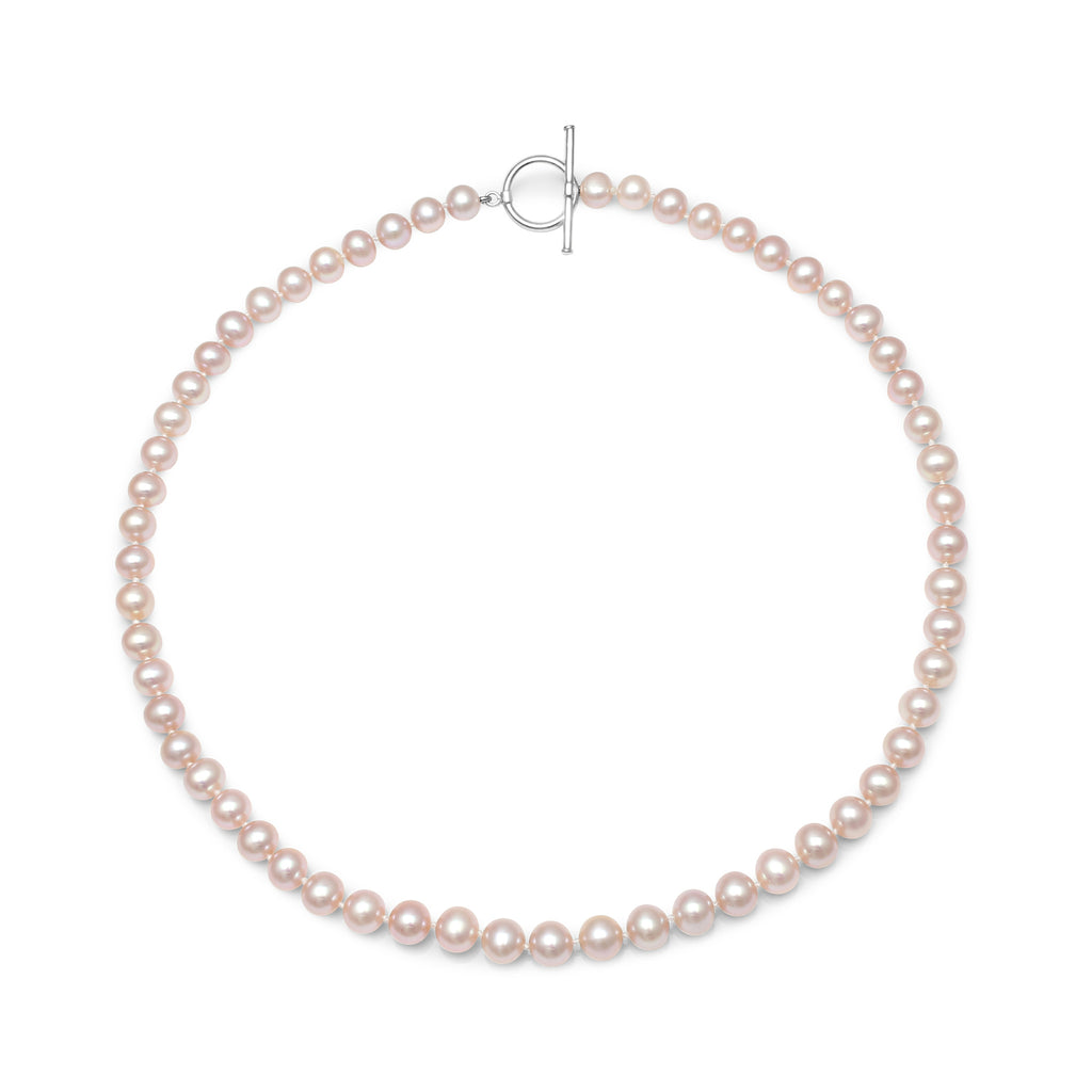 Single strand almost-round pink cultured freshwater pearl necklace