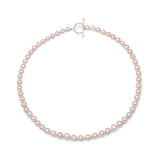 Gratia almost round pink cultured freshwater pearl necklace