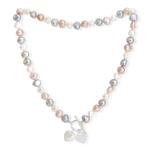 Pink, grey & white cultured freshwater pearl necklace with silver heart & pearl heart drop