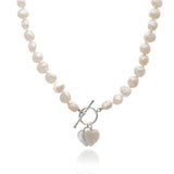 Amare cultured freshwater pearl necklace with silver heart & pearl heart drop