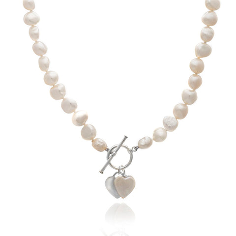 Cultured freshwater pearl necklace with silver heart & pearl heart drop