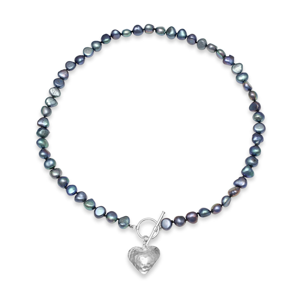 Amare single strand black cultured freshwater pearl necklace with silver hammered heart