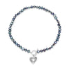 Single strand black cultured freshwater pearl necklace with silver hammered heart
