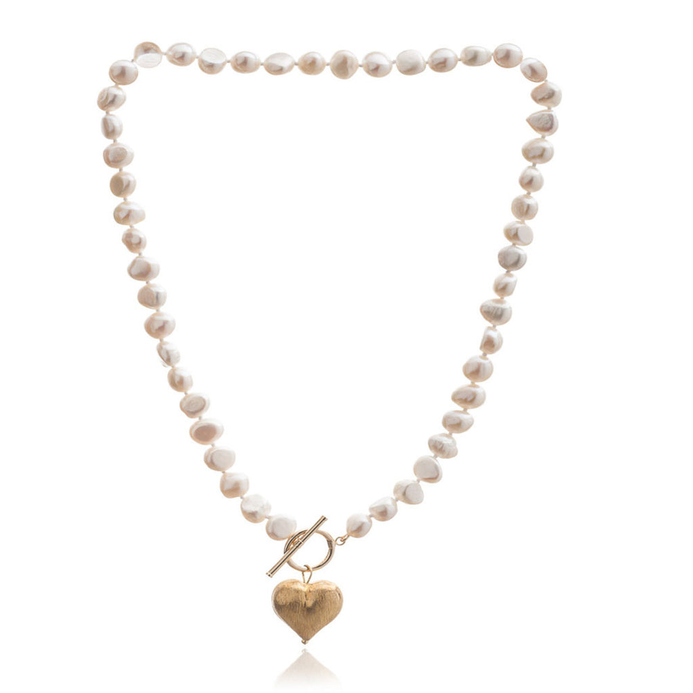 Single strand cultured irregular freshwater pearl necklace with matt gold heart drop