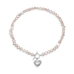 Amare single strand pink cultured freshwater pearl necklace with silver hammered heart