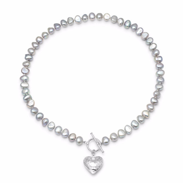 Single strand silver grey cultured freshwater pearl necklace with silver hammered heart