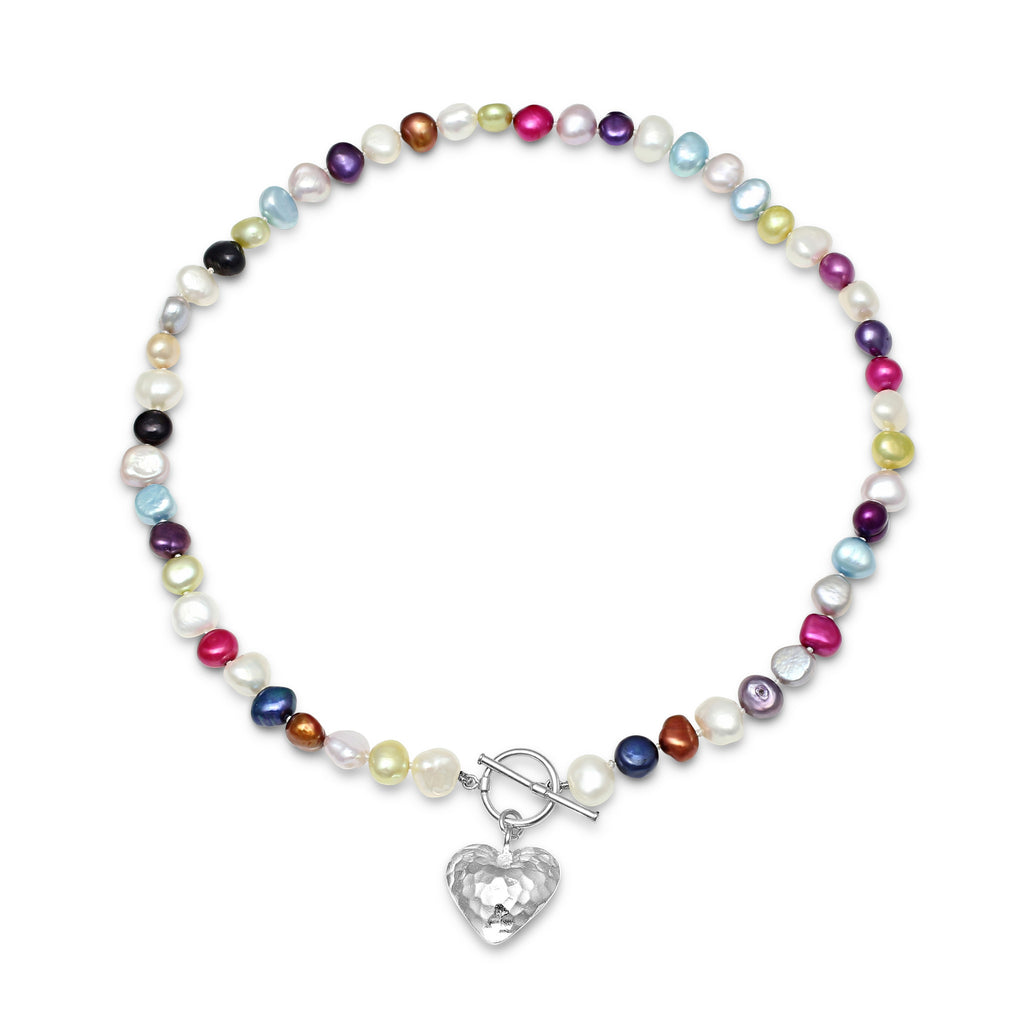 Single strand multi-coloured cultured freshwater pearl necklace with silver hammered heart