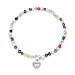 Amare single strand multi-coloured cultured freshwater pearl necklace with silver hammered heart
