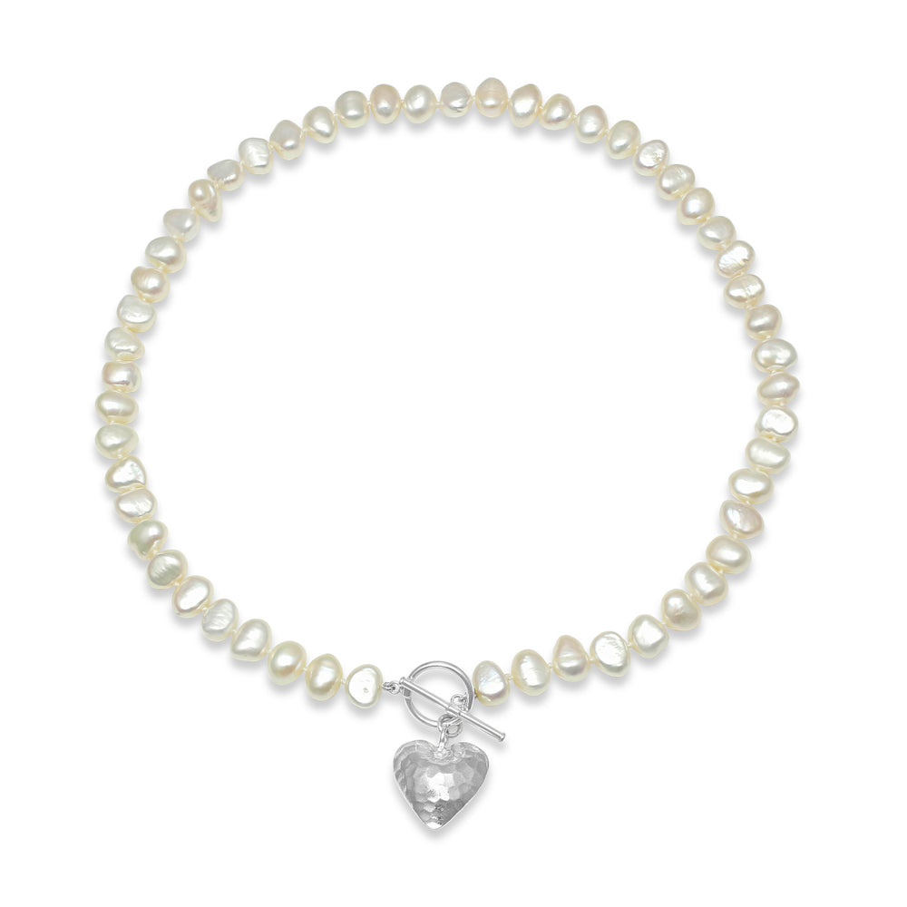 Amare single strand white irregular cultured freshwater pearl necklace with silver hammered heart