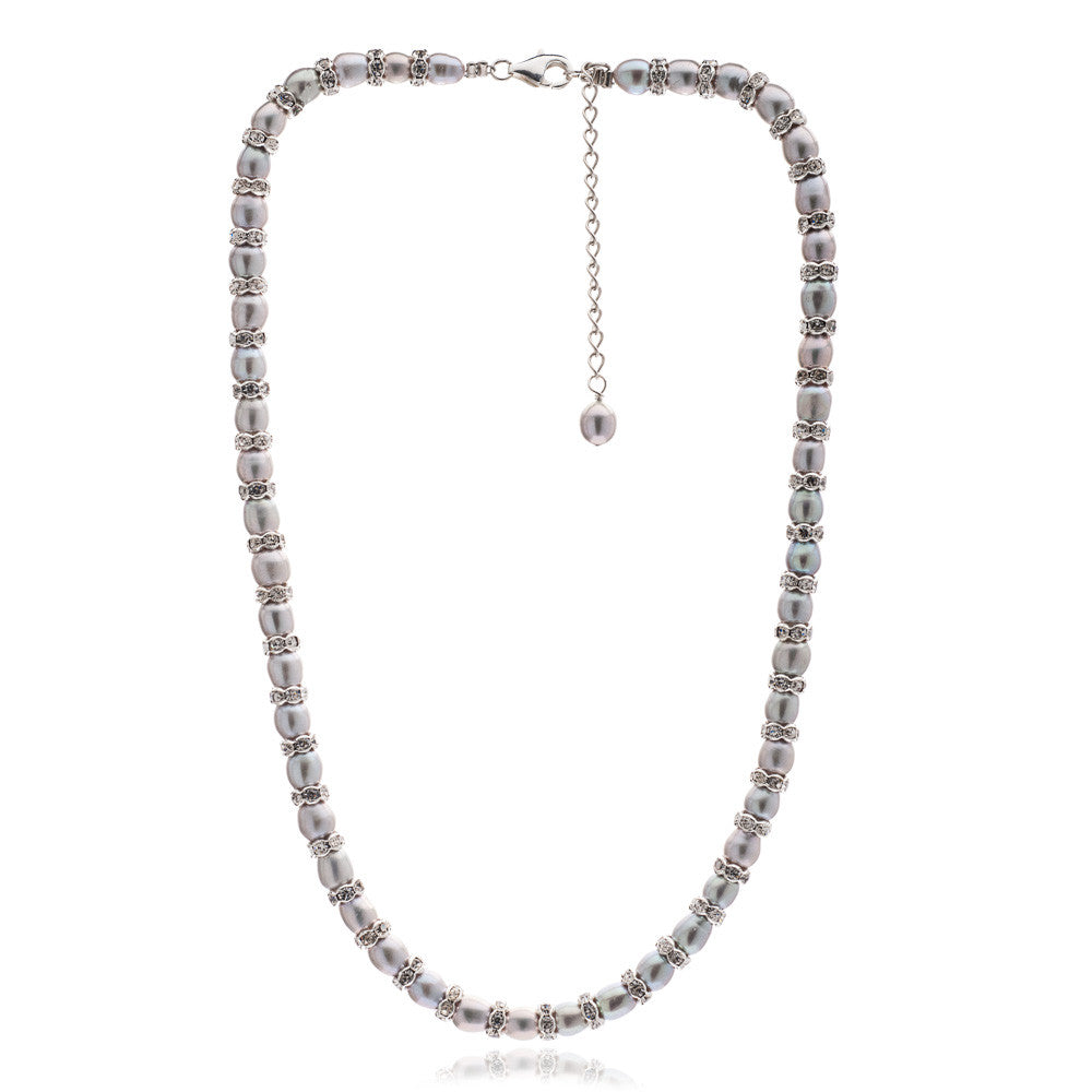 Gratia grey oval cultured freshwater pearl & silver rondelle necklace