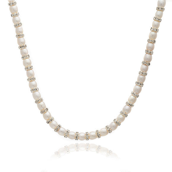 Single strand white oval cultured freshwater pearl & silver rondelle necklace