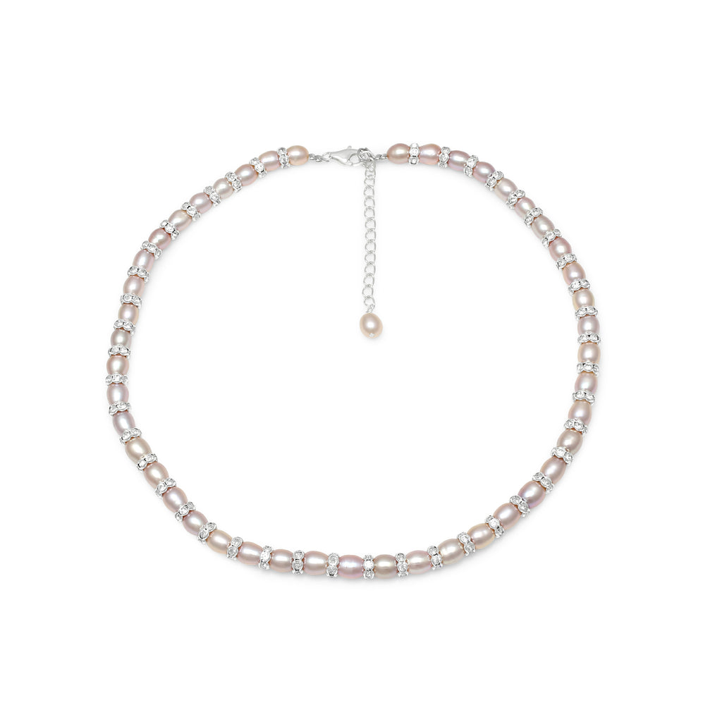 Single strand pink oval cultured freshwater pearl & silver rondelle necklace