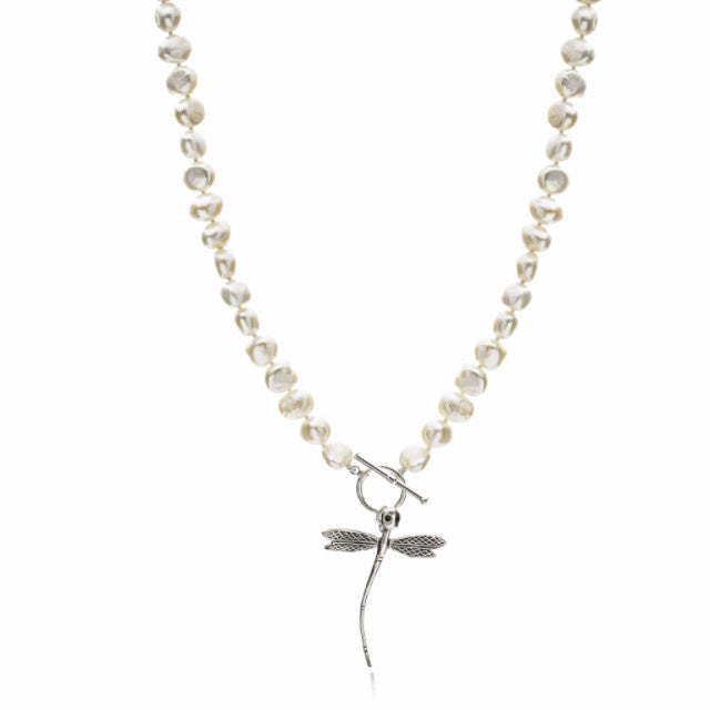 White cultured freshwater pearl necklace with silver dragonfly charm