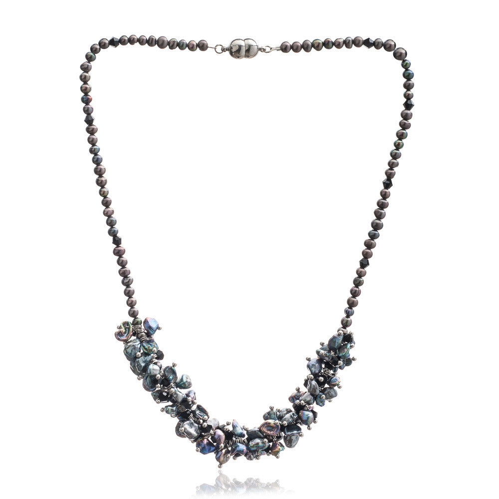 Black keishi freshwater pearl & crystal necklace
