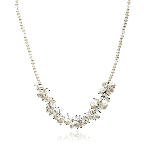White keishi freshwater pearl & crystal necklace