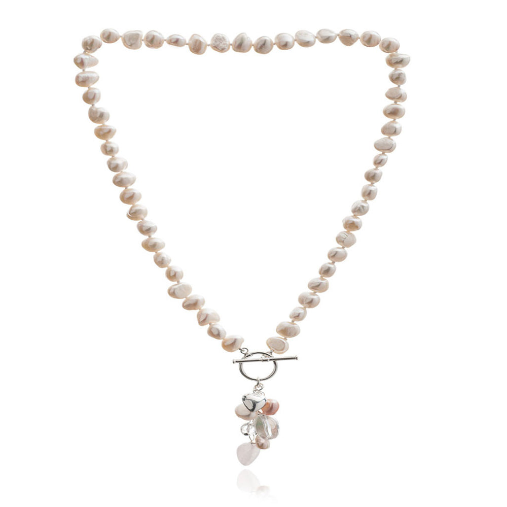 Clara white irregular freshwater pearl necklace with rose quartz drop pendant