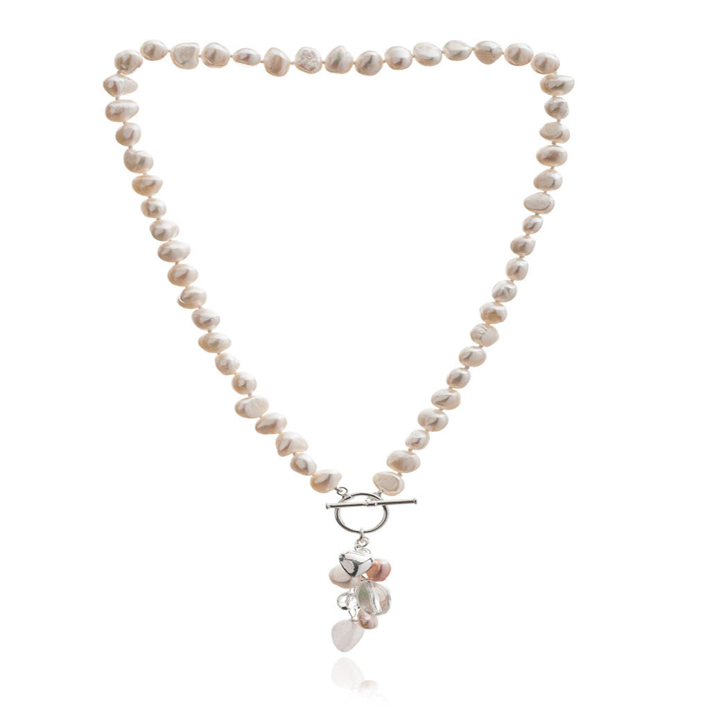 White irregular freshwater pearl necklace with rose quartz drop pendant