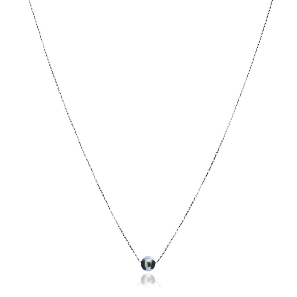 Gratia sterling silver chain with central black cultured freshwater pearl