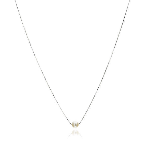 Gratia sterling silver chain with central white cultured freshwater pearl
