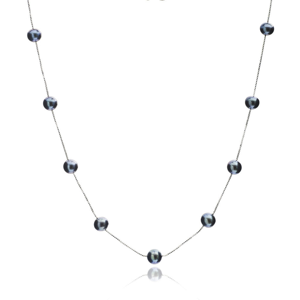Single strand sterling silver chain necklace with cultured black freshwater pearls