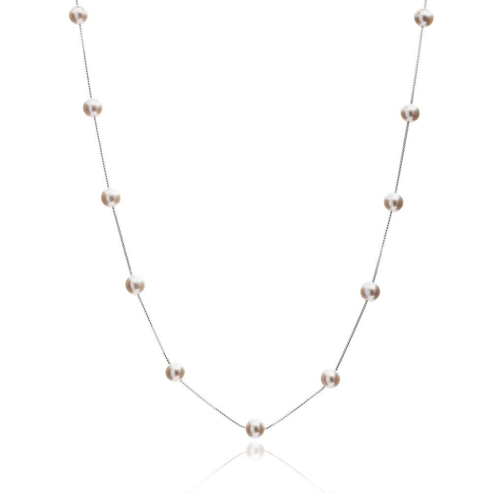 Gratia Sterling Silver Chain Necklace With Pink Cultured Freshwater Pearls